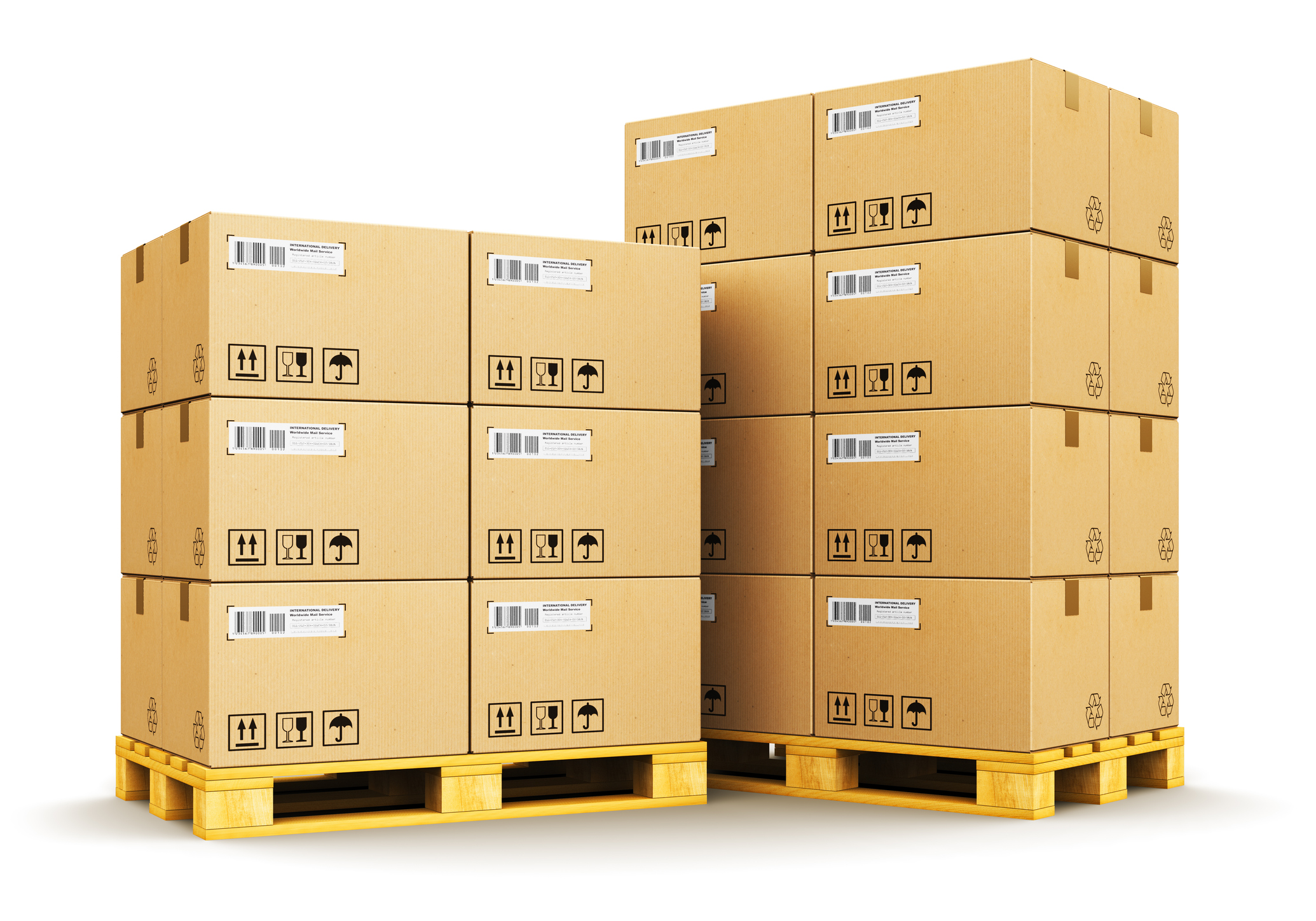 Cardboard boxes on shipping pallets Newegg Logistics