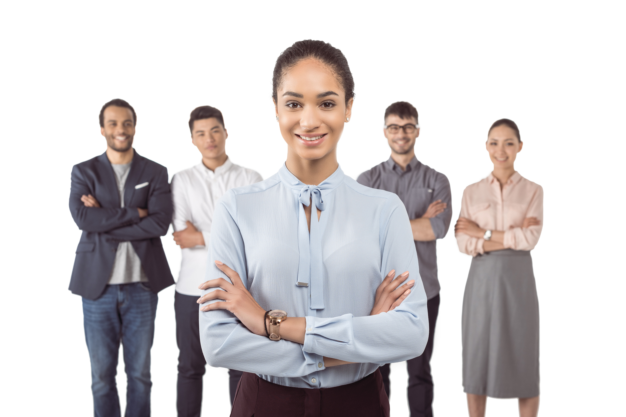 portrait of smiling businesswoman standing in front of her colleagues with arms crossed Newegg Logistics