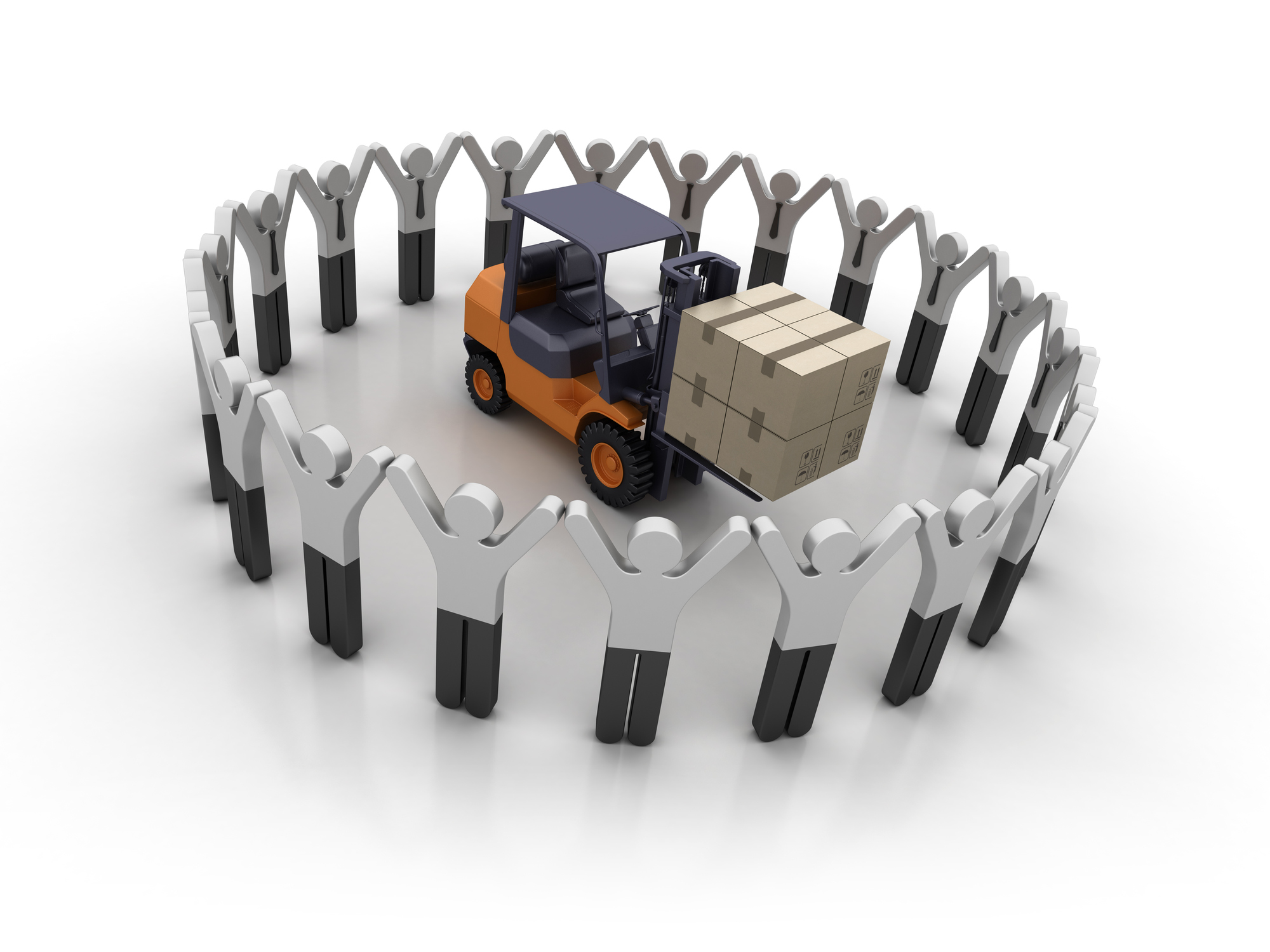 Pictogram Teamwork with Forklift - White Background - 3D Rendering - Newegg Logistics Warehouse