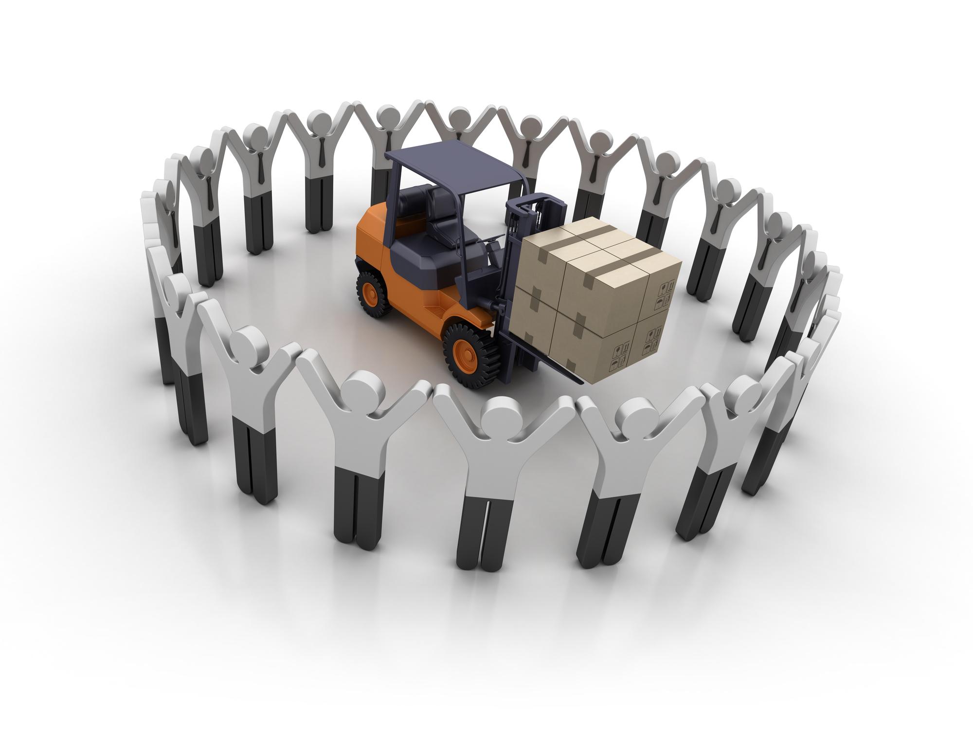 Pictogram Teamwork with Forklift - White Background - 3D Rendering - Newegg Logistics Warehouse