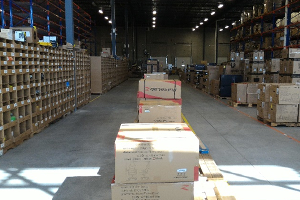 Boxes in warehouse Newegg Logistics