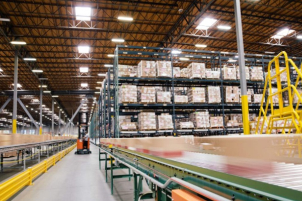 Warehouse boxes and conveyor belt Newegg Logistics
