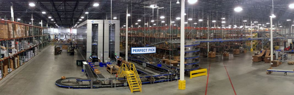 Panoramic view of the warehouse Newegg Logistics