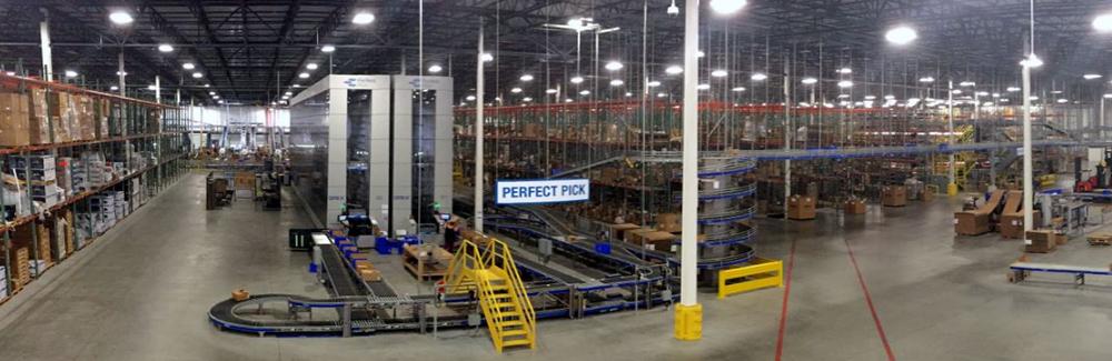 Panoramic view of the warehouse Newegg Logistics