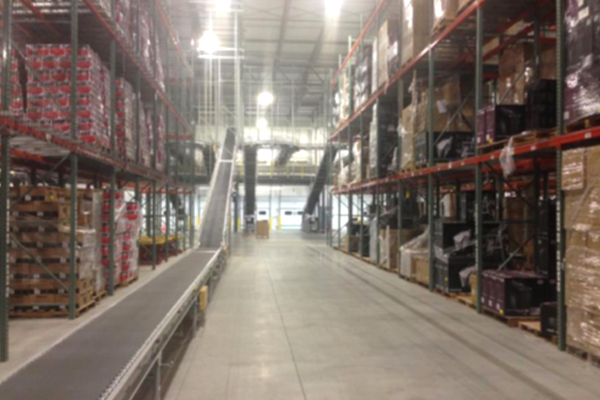 Warehouse conveyor belt boxes Newegg Logistics