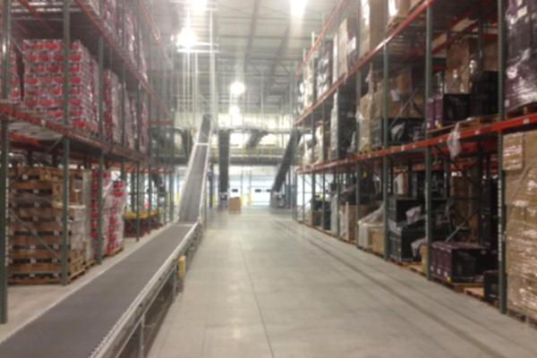 Warehouse conveyor belt boxes Newegg Logistics